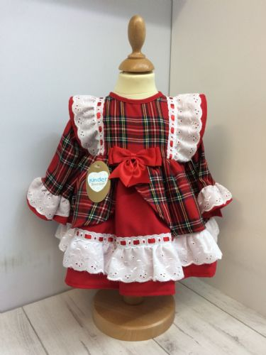 Red Tartan Dress with Broderie Anglaise Frill